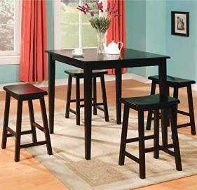 5pc Counter Height Dining Table Stools Set Black Finish # 150291N
