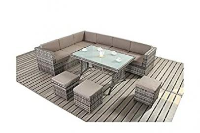 Avignon Garden Furniture Grey and Coffee Corner Sofa Dining Set