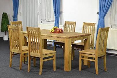 Table 160 x 90 + 6 x Chair Classic Pine Solid Tonal Brasil