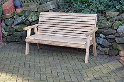 Wooden Garden Bench High Back Roll Top Furniture 3 Seater Solid Wood