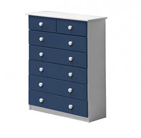 Design Vicenza Verona 5+2 Drawer Chest Whitewash With Blue Details