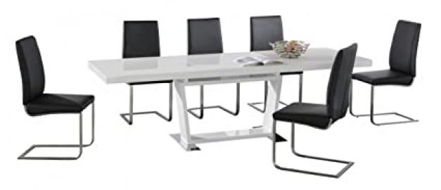 MAXWELL RECTANGULAR EXTENDING WHITE HIGH GLOSS AND STAINLESS STEEL DINING TABLE AND SIX PU STAINLESS STEEL DINING CHAIRS