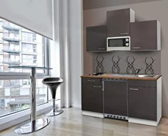 Respekta Kitchen Unit 150 cm White with APL Butcher Walnut Microwave Ceramic Grey KB150WGMIC