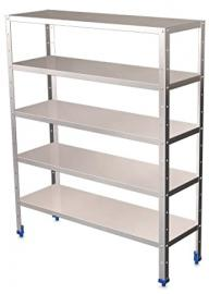 "100- (H) 175- (L) x 15.7 ""(W) Stainless Steel 5 Tier Shelving Shelves with depaisseur 0.8 mm"