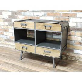 Vintage Distressed Industrial Brown and Grey Retro Storage Cabinet with Shelves (D4334) ** Full Range of Matching Furniture is Available**