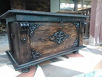 Wooden Blanket Box Coffee Table Trunk Vintage Chest Wooden Ottoman MDL1
