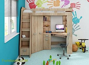 High Sleeper, Bunk Bed/Entresole. ALL IN ONE. Left Hand-side Stairs. Kids/Children Furniture Set. Bed, Wardrobe, Shelves, Desk (Sonoma Oak)