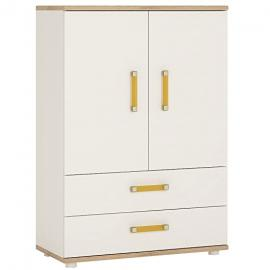 Furniture To Go 4Kids 2-Door Cabinet with 2-Drawer with Orange Handles, Wood, White Gloss/Light Oak