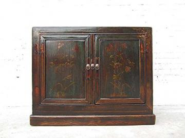 China Tibet approx. 1930 Small Chest / Cabinet in Painted Pine Wood Dark Metal fittings of Luxury-Park