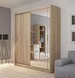 FADO large mirrored 2 door wardrobe closet in sanremo oak wood effect with sliding doors mirror shelves hanging clothes rail bedroom hallway furniture