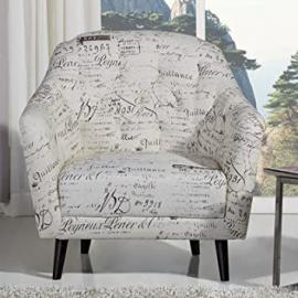Leader Lifestyle Pearl Armchair in A Beige Fabric with English Script, Wood