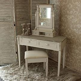 Cream Dressing Table, Mirror and Stool Set - Lyon Range