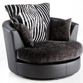 Mulberry Swivel Chair In Chenille And Faux Leather - Black - Size: W70 x D110 x H70 cms
