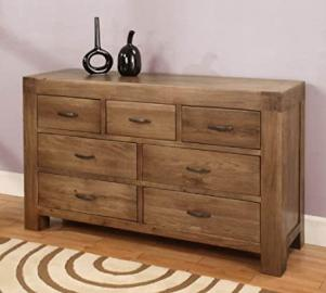 Devon 7 drawer chest of drawers solid reclaimed oak wood furniture