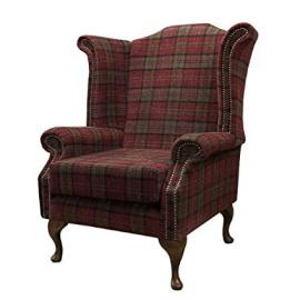 Armchair in a red tartan fabric
