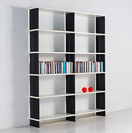 Modular bookshelves NIKKA Modern white bookcase .Made in Italy BLACK sidepanels cm. 180 x 217 h x 30