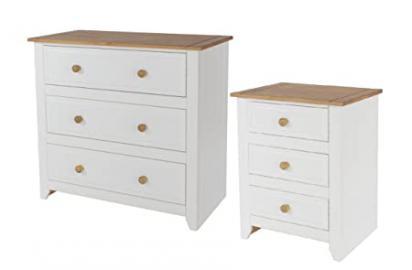 3 Drawer Chest & 3 Drawer Bedside Bedroom Furniture White & Solid Pine Tops