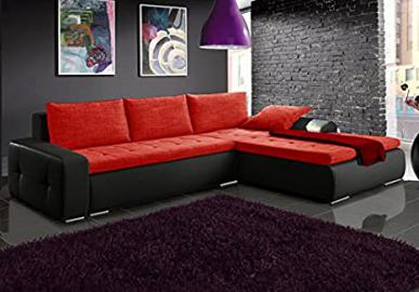 MINI black and red faux leather and fabric large corner sofa bed couch with storage sleeping area