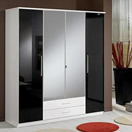 Hf4you Gamma 180cm 2 Mirror 2 Drawer German Manufactured Wardrobe - White & Black Gloss
