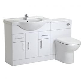 750mm White Gloss Vanity Unit and 600mm Back to Wall Toilet Pan