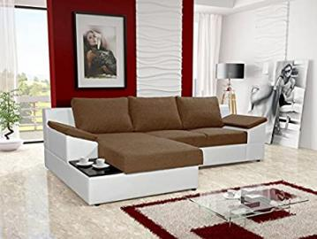 ORPHEUS brown and white faux leather fabric large corner sofa bed with storage sleeping area coffee side tea table living room furniture couches sofa beds