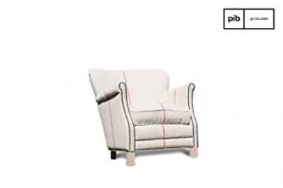 Fontaine white linen retro armchair