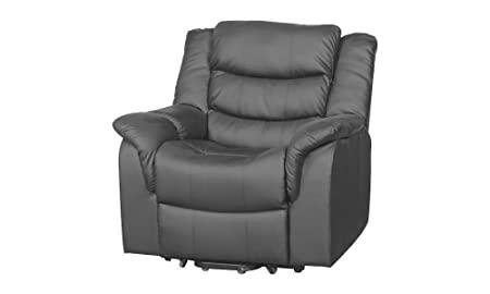 Catania Luxury Bonded Leather Riser Recliner with Massage and Heat function (Grey)