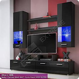 Living Room High Gloss Furniture Set Display Wall Unit Modern TV Unit Cabinet (Alice 4 / BBB)