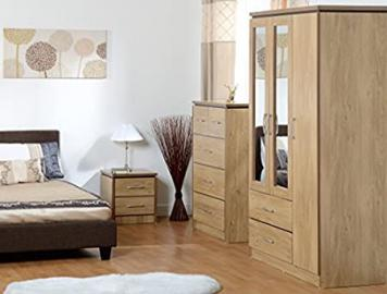 Charles Bedroom Set (3 Door) in Walnut Effect Veneer