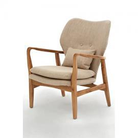 Beige Upholstered Mid Century Scandinavian Armchair