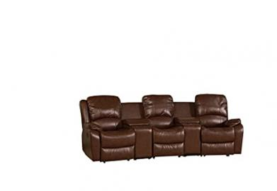 GFD Lisbon Cream 3 Seater Entertainment Leather Sofa
