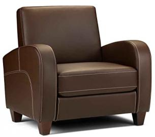 Julian Bowen Vivo Armchair in Chestnut Faux Leather, Size: H 83cm, D 80cm, W 87cm