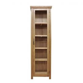 Warwick Oak 1 Drawer 2 Door Glazed Display Cabinet in Waxed Oak Finish | Wooden Storage Cupboard