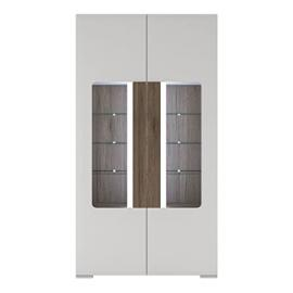 Furniture To Go Toronto Tall Wide 2-Door Glazed Display Cabinet with Internal Shelves including Plexi Lighting, White Gloss