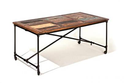 CoffeeTABLE WITH WHEELS. SIZE 180x90x77H. TOP IN SOLID WOOD, METAL STRUCTURE. VINTAGE ETHNIC EFFECT. ARTICLE IN KIT.