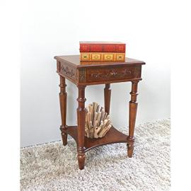 Telephone Table w Single Drawer and Hand-Carved Motif