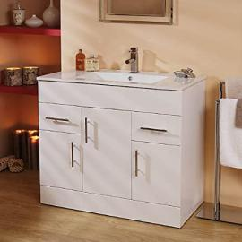 900 Vanity Unit Basin with Cabinet White (+4 Vanity Units 1000,1200,750,600) ; Modern Bathroom Under Sink Basins Square Cabinets Storage Cupboards ; Gloss Soft Close Contemporary Sinks Design
