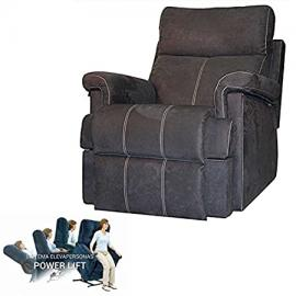 Maximum Comfort Sillon Relax With Raised People and Opening Electrica - Color Steel with Seam Beige