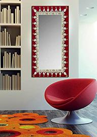Glass mirrors decorated by hand: collection DIANA. Burgundy.