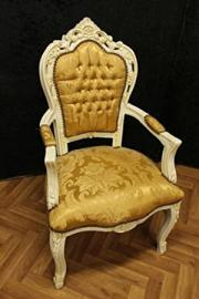 baroque armchair carved creme-white laquere golden fabricfabric