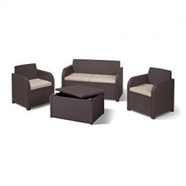Allibert Carolina Garden Set with Storage Table (seats 4) - Brown