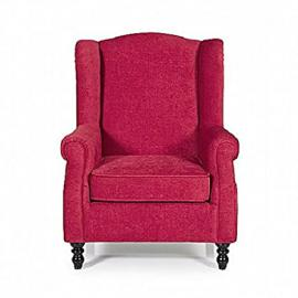Traditional armchair fireside occasional single upholstered winged wing chair seat. Grey, mink, red (Red)