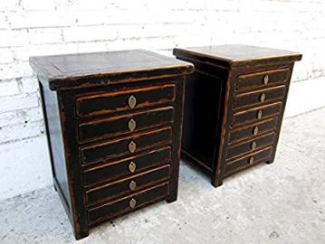 Two desk Schubladenkommoden Cabinets Each with 6 Drawers China Pine Varnished Black-Luxury Park