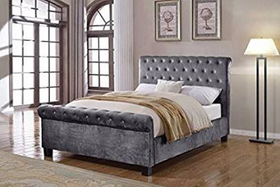 Flair Furnishings Lola Fabric Bed Silver Double