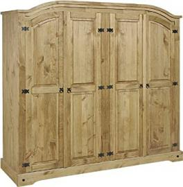 Mercers Furniture Corona Solid Pine Wardrobe (4 door arch 1935mm wide x 563mm deep x 1880mm)