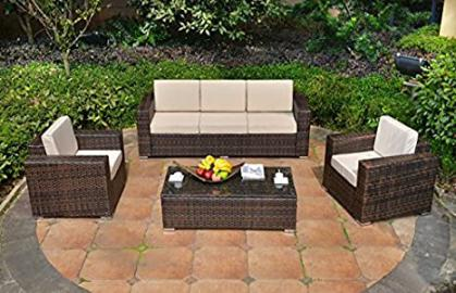 RATTAN GARDEN SOFA PATIO CONSERVATORY FURNITURE