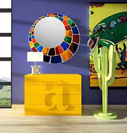 Glass mirrors decorated by hand: model SPHERE. Multi-Colour.