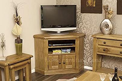 Solid Oak Corner TV Unit with Storage Cupboard | Cabinet | Stand | HFL.CO.UKDan023