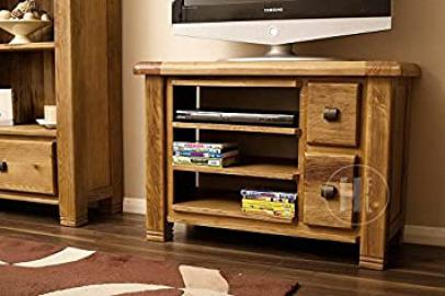 Solid Oak TV Unit with 2 Storage Drawers | Cabinet | Stand | Danube | HFL.CO.UKDan027
