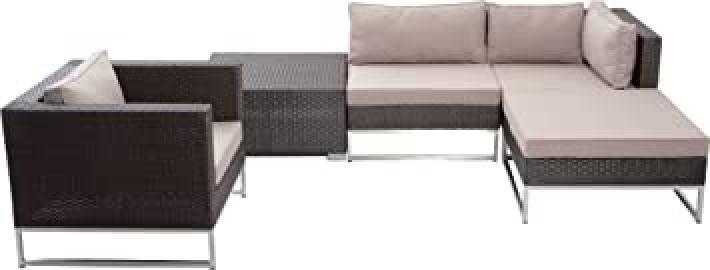 Mirage and Polyrattan Lounge Furniture Set 5Pieces Aluminium